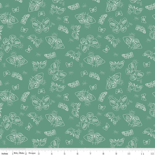 Riley Blake Fabrics - Moths Green - Wild Bouquet - Citrus & Mint Designs