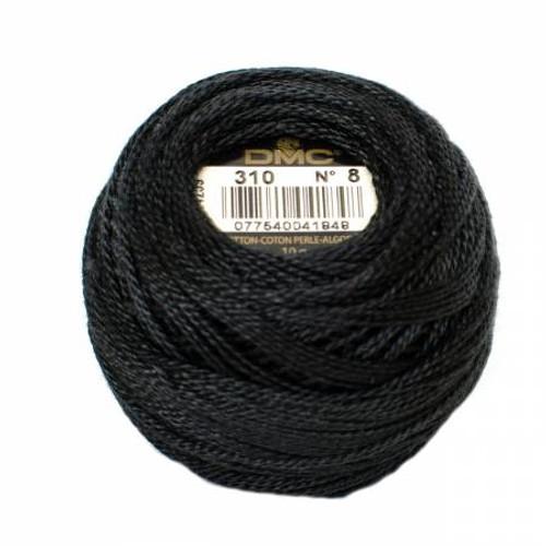 Pearl Cotton Balls - Size 8 - Black - Color 310