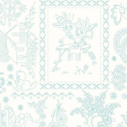 Riley Blake Fabrics - Vintage Embroidery Blue - Granny Chic  - Lori Holt - WIDE BACK