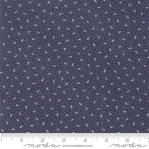 Moda Fabrics - Primitive Floral Dark Blue - Indigo Gatherings - Primitive Gatherings