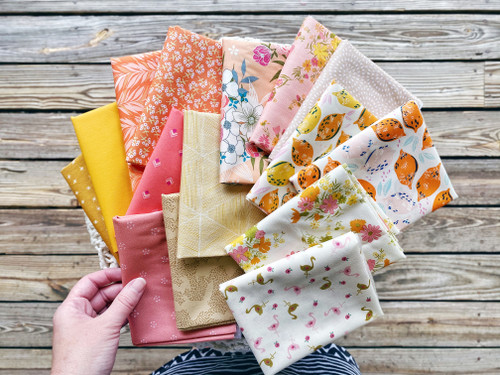 Tangerine Cutie Fat Quarter Bundle  - 15 Pieces - Curated Especially for the Sugar Bear OR Little Miss Sawtooth Quilt