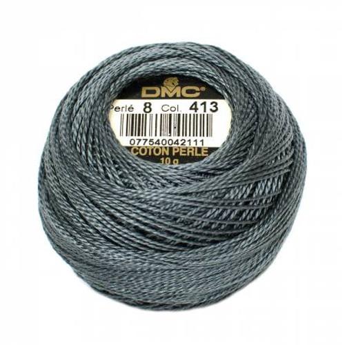 DMC - Pearl Cotton Balls - Size 8 - Dark Pewter Gray - Color 413
