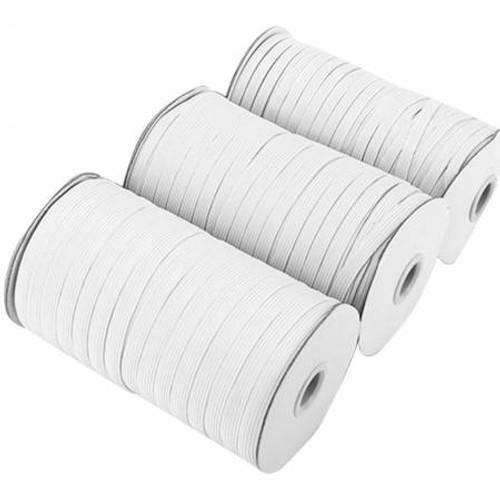 Flat White Elastic 1/4in - 5 yd cuts
