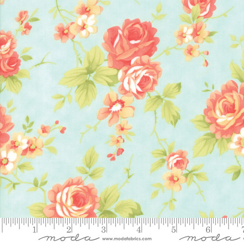 Moda Fabrics - Floral in Seaglass - Catalina - By Fig Tree