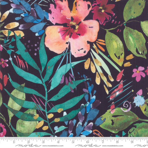 Moda Fabrics - Floral in Navy - Brightly Blooming - By Create Joy Project