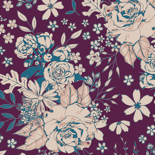 Art Gallery Fabrics - Floral Universe Plum - Soulful - By Maureen Cracknell