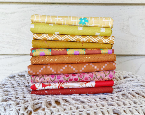 Flora Sunset Companion Bundle - 10 Pieces - Created especially for the Oh Honey Quilt