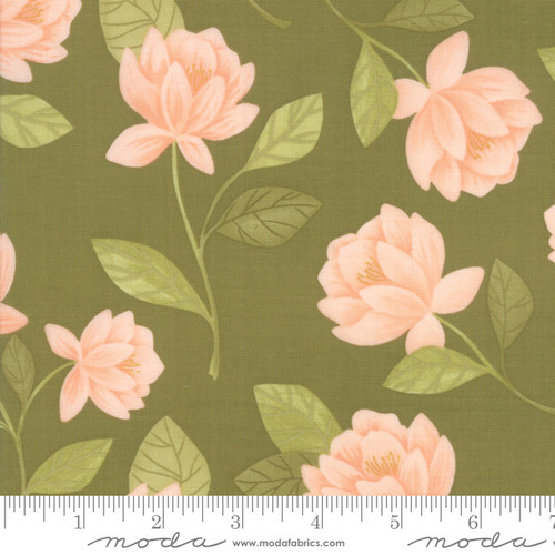 Moda Fabrics - Raleigh Floral Olive - Goldenrod - By One Canoe Two