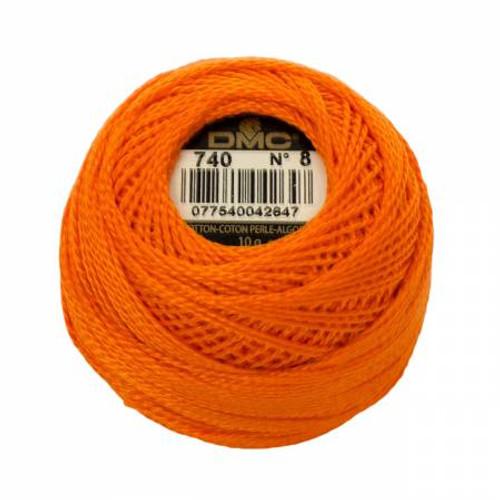DMC - Pearl Cotton Balls - Size 8 - Tangerine - Color 740