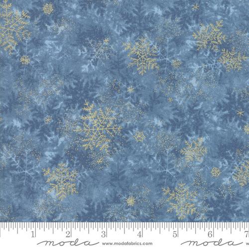 Moda Fabrics - Frozen Pond Dark Blue - Forest Frost Glitter