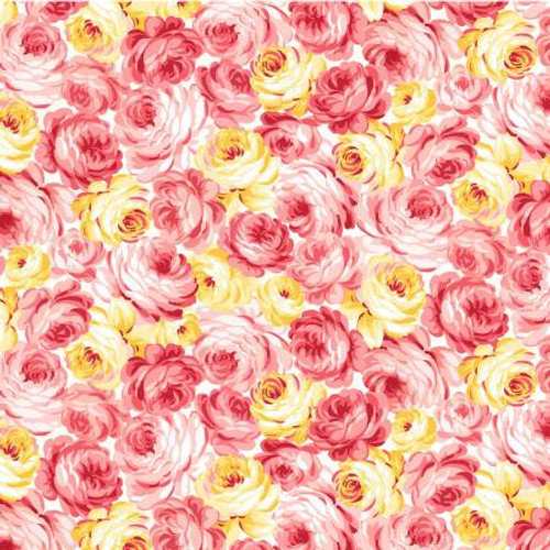 Michael Miller Fabrics - Peach Garden Rose - Country Cottage - MMF Collection