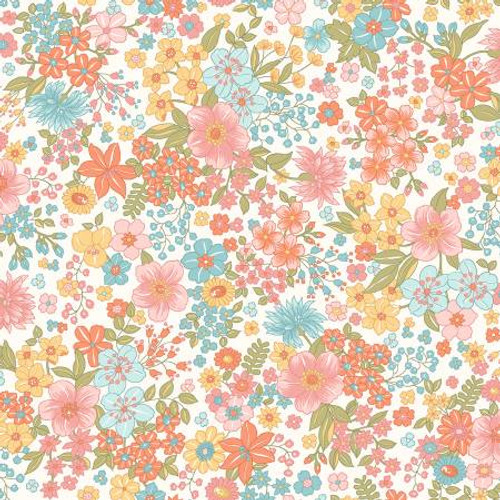 Maywood Studio Fabrics - Sunlit Floral Soft White - Sunlit Blooms - Maywood Studio Collections