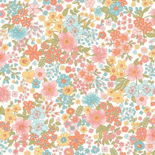 Maywood Studio Fabrics - Sunlit Floral Soft White - Sunlit Blooms - Maywood Studio Collections