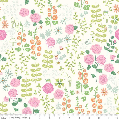 Riley Blake Fabrics - Rose Garden Cream - New Dawn - Citrus & Mint Designs