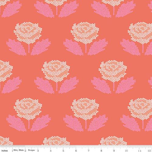 Riley Blake Fabrics - Stitch Coral - New Dawn - Citrus & Mint Designs