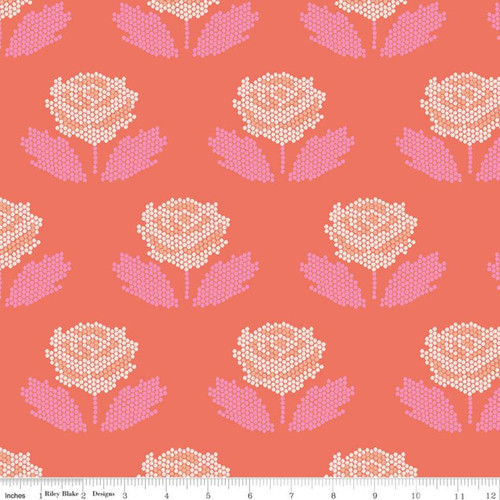 Riley Blake Fabrics - Stitch Coral - New Dawn - Citrus & Mint Designs