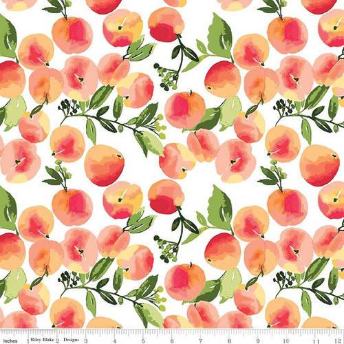 Riley Blake Fabrics - Peaches White - Glohaven - Lila Tueller