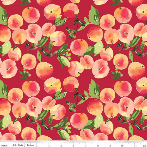Riley Blake Fabrics - Peaches Red - Glohaven - Lila Tueller