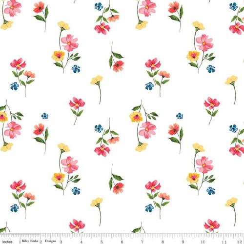 Riley Blake Fabrics - Flowers White - Glohaven - Lila Tueller