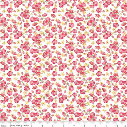 Riley Blake Fabrics - Blossoms White - Glohaven - Lila Tueller