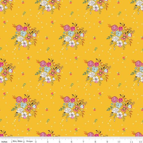 Riley Blake Fabrics - Bouquets Mustard - Idyllic - Minki Kim