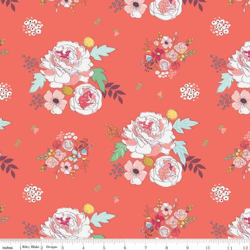 Riley Blake Fabrics - Main Coral - Idyllic - Minki Kim