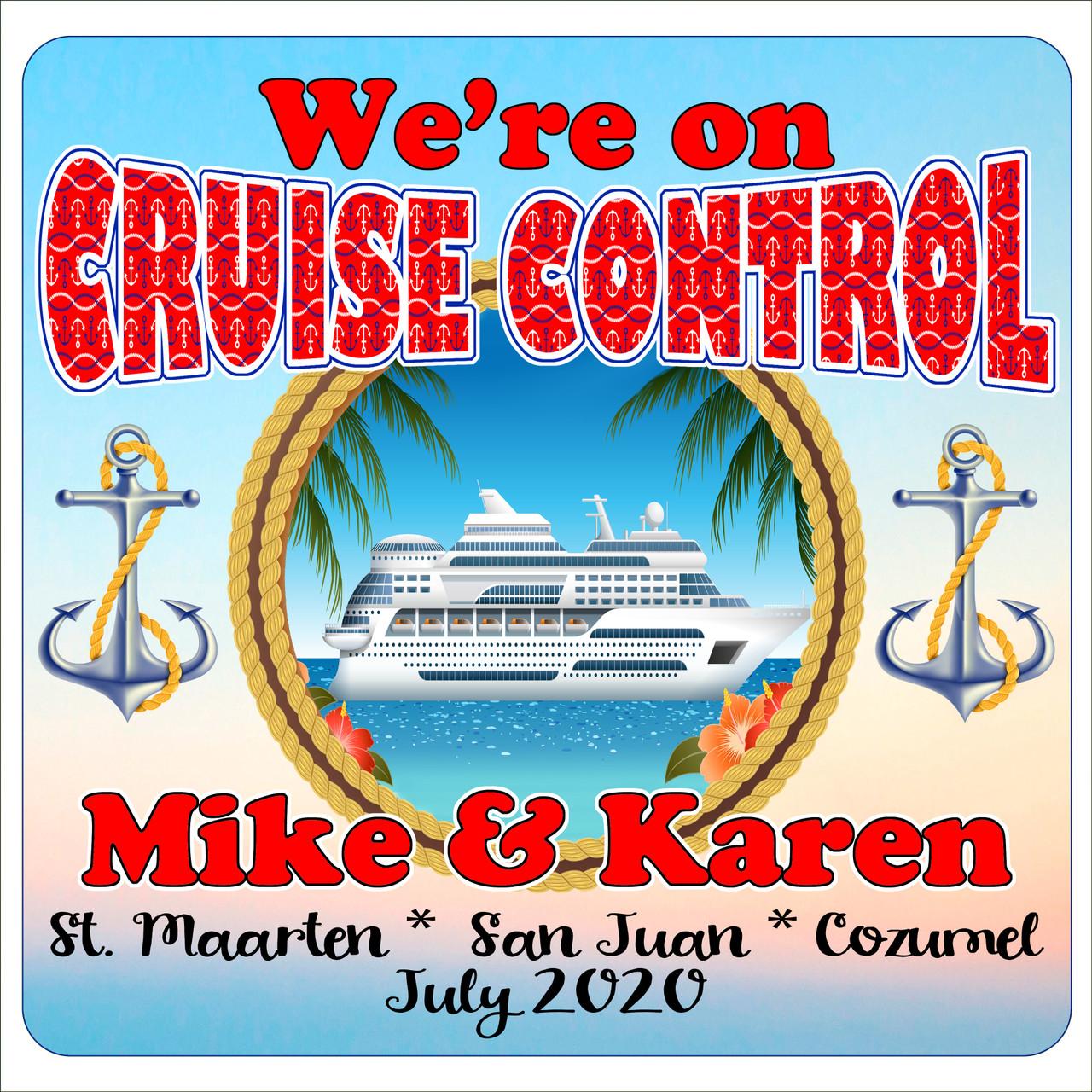 11 X 11 Cruise Ship Door Magnet Disco Theme Custom door magnet Include your custom text