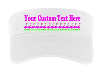 Cruise Visor - Choice of visor color with full color art work & your custom text. - Flamingos