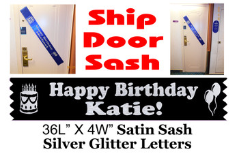 Cruise Door Sash with glitter letters - Birthday Silver