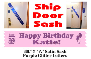 Cruise Door Sash with glitter letters - Birthday Purple