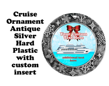 Cruise ornament.  Commemorate your cruise with this custom ornament.  Round.  Design 002