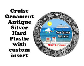 Cruise ornament.  Commemorate your cruise with this custom ornament.  Round.  Design 003