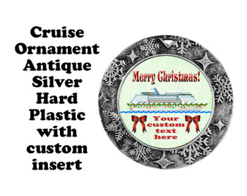 Cruise ornament.  Commemorate your cruise with this custom ornament.  Round.  Design 004