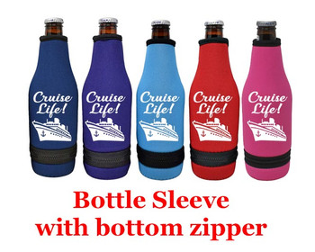 Cruise themed bottle sleeve.  Choice of color and custom option available.  Design 004