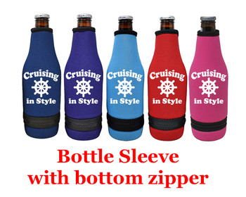 Cruise themed bottle sleeve.  Choice of color and custom option available.  Design 007
