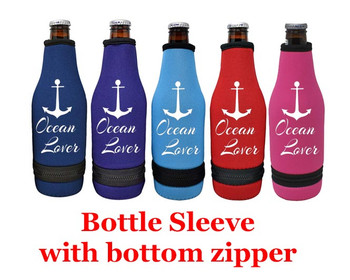 Cruise themed bottle sleeve.  Choice of color and custom option available.  Design 0011
