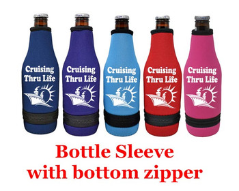 Cruise themed bottle sleeve.  Choice of color and custom option available.  Design 0015