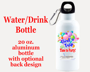Cruise themed Water - Beverage Bottle.  20 Oz Aluminum Bottle with optional back design.  Design 0010