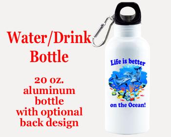Cruise themed Water - Beverage Bottle.  20 Oz Aluminum Bottle with optional back design.  Design 0012