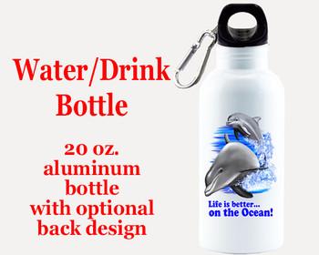 Cruise themed Water - Beverage Bottle.  20 Oz Aluminum Bottle with optional back design.  Design 0013