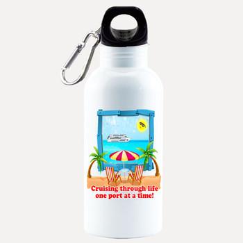 Cruise themed Water - Beverage Bottle.  20 Oz Aluminum Bottle with optional back design.  Design 0016