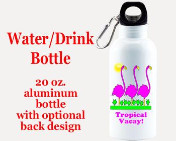 Cruise themed Water - Beverage Bottle.  20 Oz Aluminum Bottle with optional back design.  Design 0018