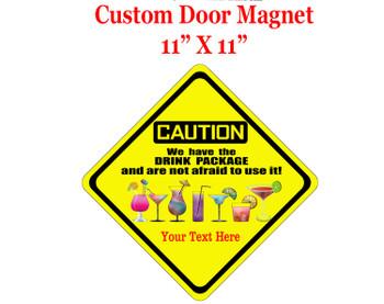 "Cruise Ship Door Magnet - 11"" x 11"" - Caution 2"