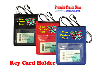 Cruise Card Holder - Custom with your text and colorful art work.  Choice of color.   Design  30