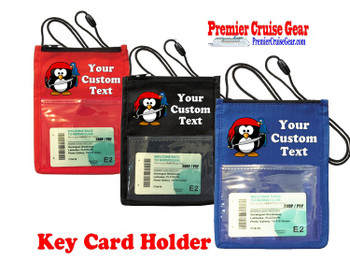 Cruise Card Holder - Custom with your text and colorful art work.  Choice of color.   Design  36