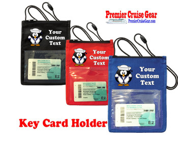 Cruise Card Holder - Custom with your text and colorful art work.  Choice of color.   Design  37