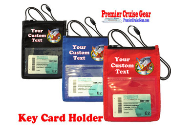 Cruise Card Holder - Custom with your text and colorful art work.  Choice of color.   Design  40