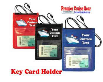 Cruise Card Holder - Custom with your text and colorful art work.  Choice of color.   Design  41