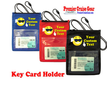 Cruise Card Holder - Custom with your text and colorful art work.  Choice of color.   Design  42