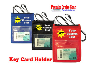 Cruise Card Holder - Custom with your text and colorful art work.  Choice of color.   Design  43